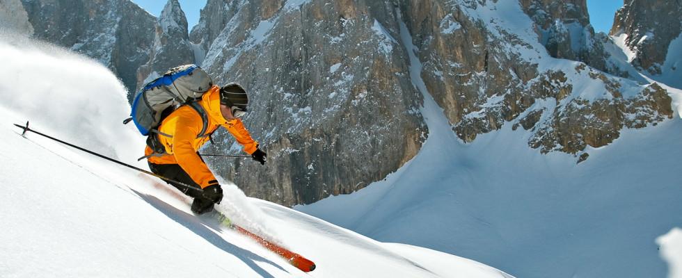 Mit Bergführer von ProAlpina aus Südtirol - Dolomiten beim Freeriden in den Dolomiten