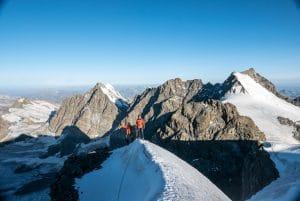 Piz Bernina (Spallagrat) und Piz Palü mit Bergführer