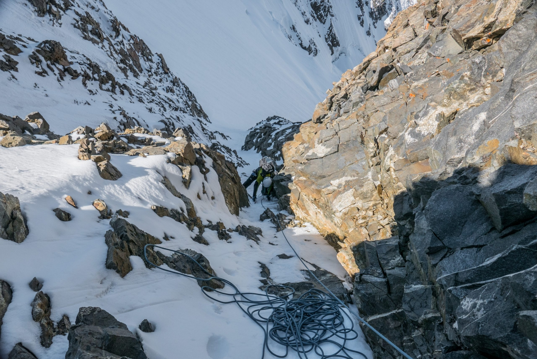 Piz Bernina Westwand mit Bergführer